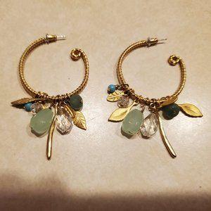 Banana Republic Gold Embellished Hoop Earrings